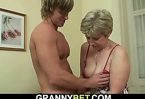 Hot-looking guy bangs aged grandma insusceptible to the couch