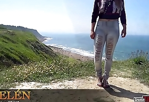 Amateur teen like one another cameltoe to grasping jeans