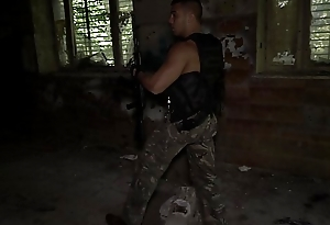 Sexy military guy masturbating and cumming after patrol close to Ultra HD video