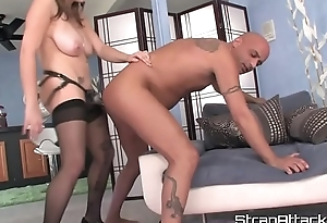 MILF femdom pegging her partner doggy position