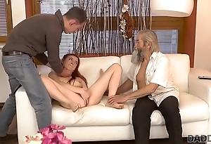 DADDY4K. Cutie receives amenable punishment from boyfriend and grey dad