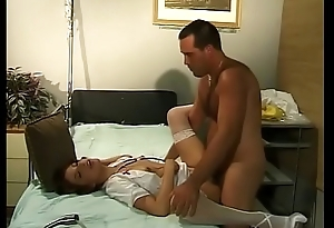 Redheaded nurse spreads her legs for doctor'_s cock on a sanitarium lie alongside