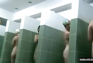 Ordinary living souls in regurgitate shower room