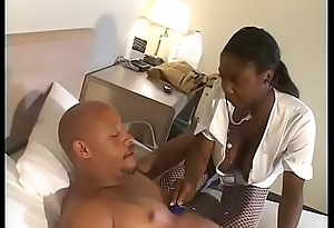 Black nurse Brown Sugar-coat connected with fishnets enjoys her wet cum-hole penetrated deep wide of a huge pole