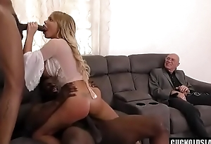 Rachele Richey big Chief with 2 burly Negro black cocks