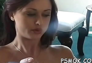 Older slut blows a baffle space fully smoking a cigarette