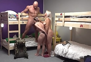 Fake Hostel Petite backbacker babe fucks an absolute unit nearly trine