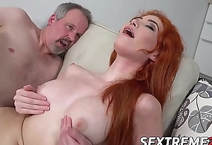 Young redhead filled up with grandpas cock together with cum