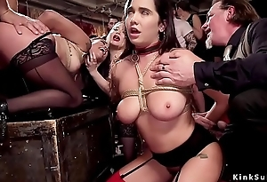 Slave beauties anal drilled at one's fingertips orgy corps