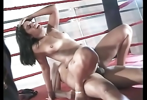 Brunette Brazilian cosset is above their way knees engulfing a cock