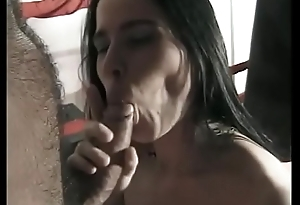 Natural titted brunette rides a dig up and gets cum on her face