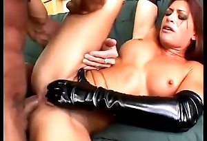 Guy chokes and assfucks this crazy anal slut in jet latex Aria Noir
