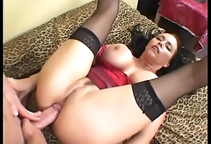 Hawt brunette MILF approximately red corset Angelica Sinn gets anal fucked and a huge facial