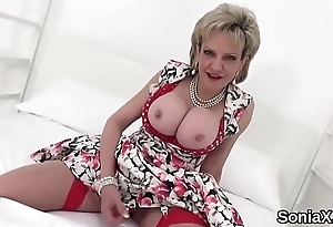 Adulterous english mature lady sonia discloses her oversized boobies
