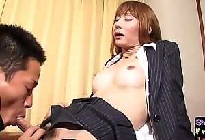 Fishnet lady-man engulfing dick before sex