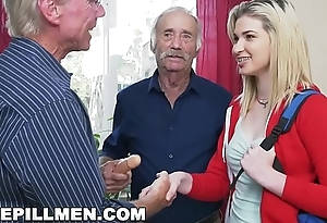 Titillating Dripping MEN - Young Stacie Gets Schooled By Team a few Horny Venerable Bobtail